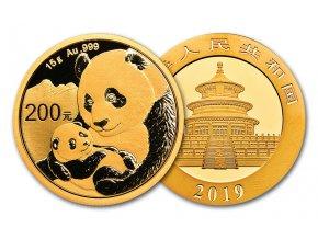 Investiční zlatá mince čínská Panda 2019 15g
