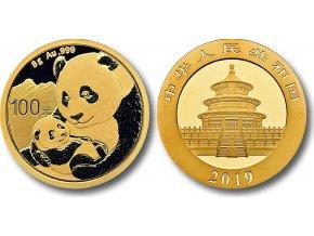 Investiční zlatá mince čínská Panda 2019 8g