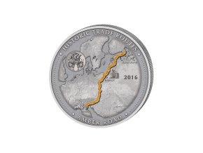 Stříbrná mince 5 Oz Kamerun-Historické obchodní cesty-Amber route 2016-cesta jantaru