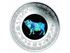 Stříbrná mince rok Vepře s opálem 2019-1 Oz
