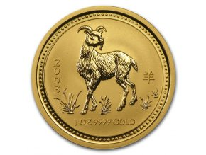 Investiční zlatá mince rok Kozy 2003 1/20 Oz