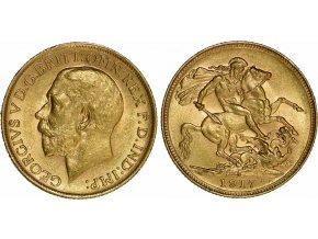 Zlatý britský Sovereign-George V.-1917 S