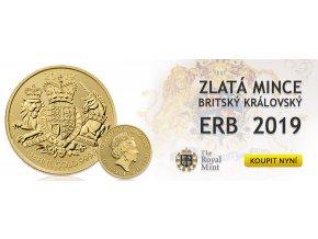 Investiční zlatá mince Britský královský erb -2019 1 Oz