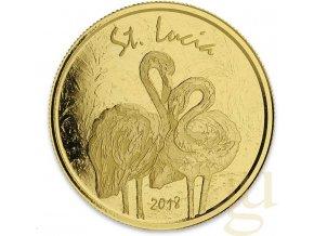 Investiční zlatá mince Dominica 2018 -Saint Lucia-Plameňák 1 Oz