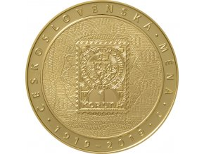 Zlatá mince 1 Oz- Zavedení československé měny -10 000 korun-mimořádná ražba 2019 -proof