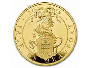 Investiční zlatá mince Yale of Beaufort Anglie 2019-heraldická série -Proof 5 Oz