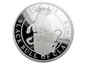 Stříbrná mince Queen´s beasts-Black bull of Clarence - 2018 Silver Proof 5 Oz