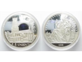 Stříbrná mince Helvetia 1998-hrad Fribourgh-5 Oz
