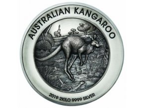 Stříbrná mince Australský klokan vysoký reliéf 2019-2000g