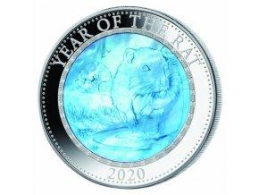 Stříbrná mince rok krysy 2020-5 Oz s perletí