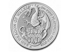 Investiční platinová mince Drak královny Anglie 2018-heraldická série 1 Oz