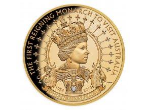 Zlatá mince Královna Alžběta II. 2019-proof s diamantem