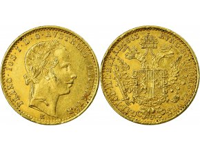 Zlatý dukát Františka Josefa I.-1863 E