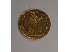Zlatá mince Desetikoruna Františka Josefa I.- uherská ražba 1912