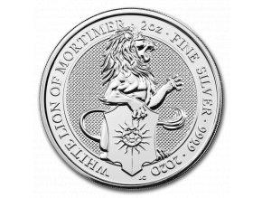 Investiční stříbrná mince White Lion of Mortimer 2019- 2 Oz