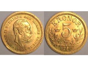 Zlatá švédská 5 koruna