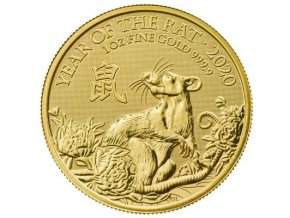 Zlatá mince rok krysy 2020 1 Oz- lunární série Velká Británie