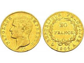 Zlatý 20 frank Napoeon I.