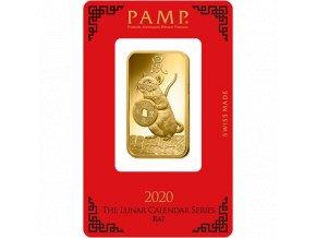 Investiční zlatá cihla PAMP Rok krysy  2020 1 Oz