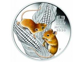 Stříbrná mince rok Krysy 20120 1 Oz kolorovaná verze