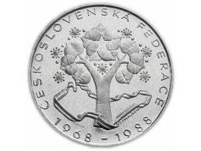 500kč stříbrná mince 20. výroční Československé federace