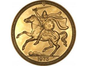 Investiční zlato-zlatá mince půl Sovereign Manx-Viking 1973