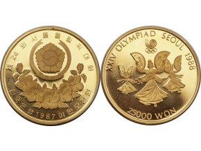 Zlatá mince Tanečnice s vějíři-Korea 1987 1/2 Oz