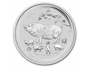 Investiční stříbrná  mince rok Vepře 2019 5 Oz