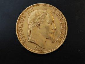 Zlatý 50 frank Napoleon III. imperátor