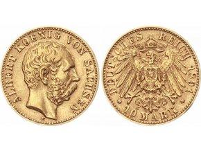 Zlatá 10 marka 1891 E-Albert von Sachsen