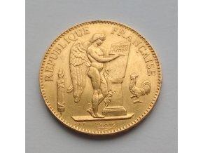 Zlatá mince francouzský 100 frank-Anděl-Genius 1879