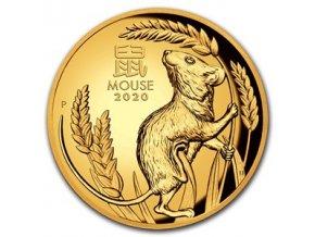 Zlatá mince rok krysy 2020 1 Oz vysoký reliéf proof- lunární série III.