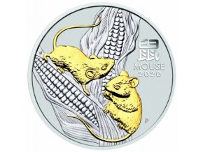 Stříbrná mince rok krysy 1 Oz 2020-zlacené provedení