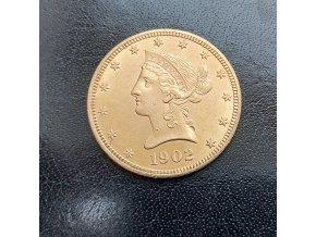 Zlatá mince americký Liberty Eagle-10 dolarů ročník 1904