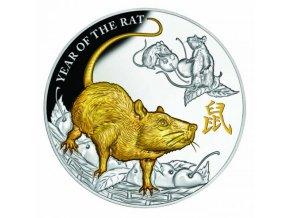 Investiční stříbrná mince rok krysy 2020 5 Oz-proof