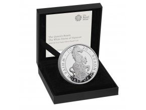 The Queen's Beasts The White Horse of Hanover 2020 UK One Ounce Silver Proof Coin reverse in case right UK20QHSP
