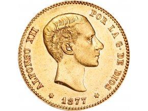 Zlatá mince 25 peset Alfonso XII 1876-1881- druhý portrét