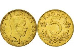 Zlatá švédská 5 koruna Gustav  V. 1920