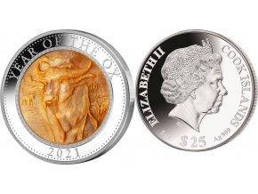 Stříbrná mince 5 OZ rok býka 2021