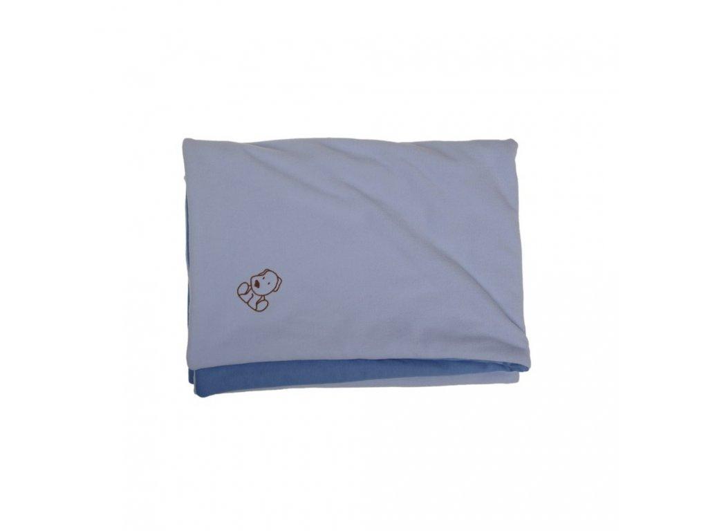 Dětská deka modrá s pejskem fleece bavlna