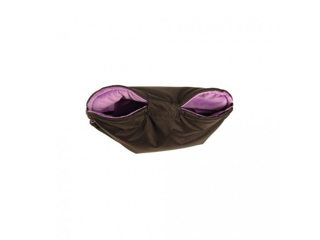 Nový rukávník na kočárek černo fialový