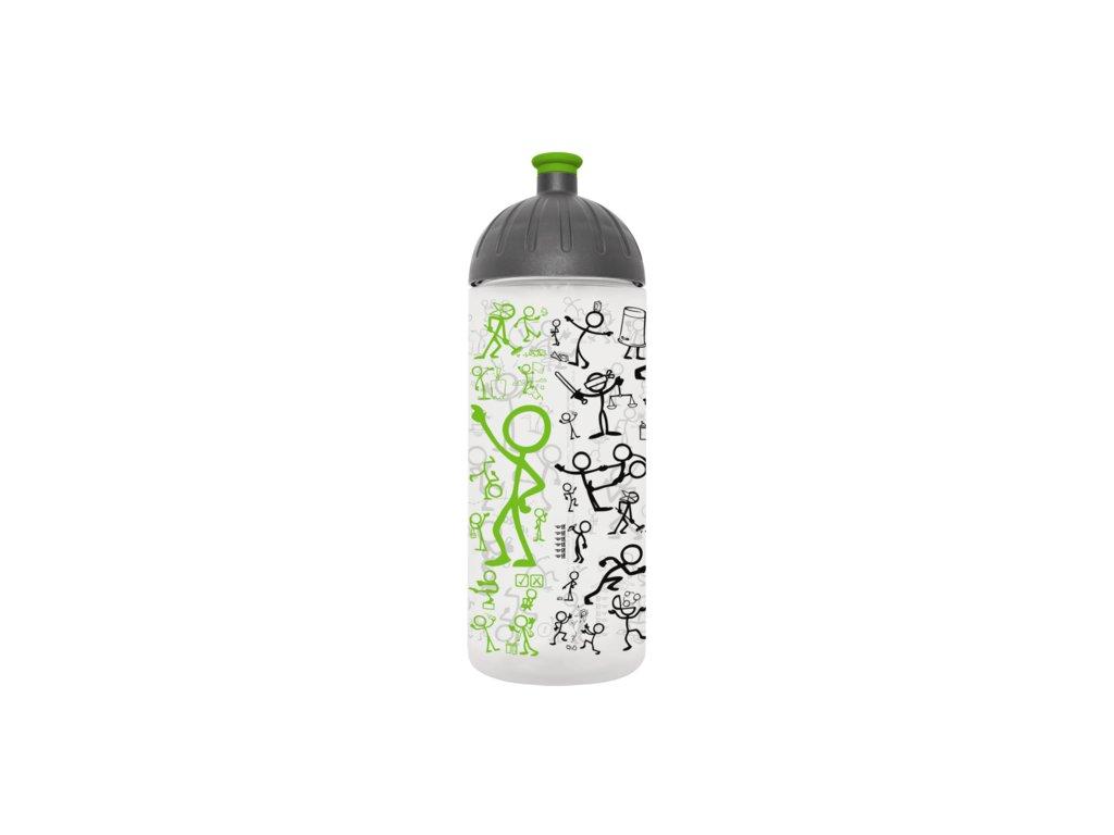 FreeWater lahev 0,7l Piktogramy/Panáček transparentní zelená