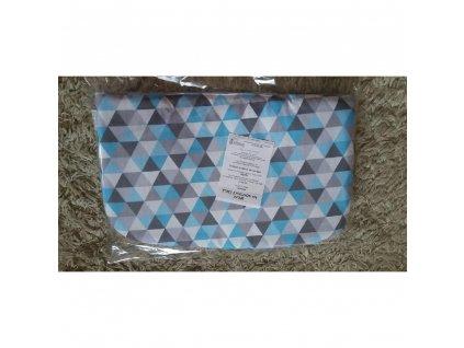 Polštářek bavlna/fleece triangl modrý