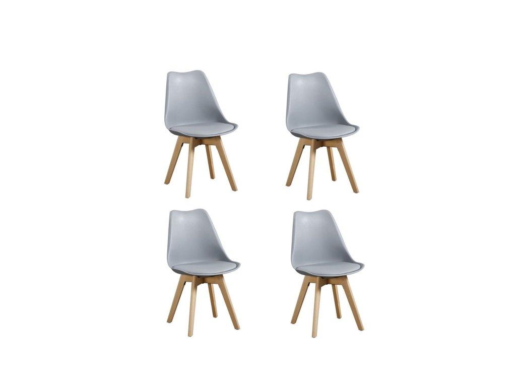 Jídelní židle PORTO - šedá (sada 4ks)