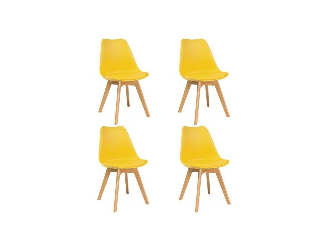 Jídelní židle PORTO - žlutá (sada 4ks)
