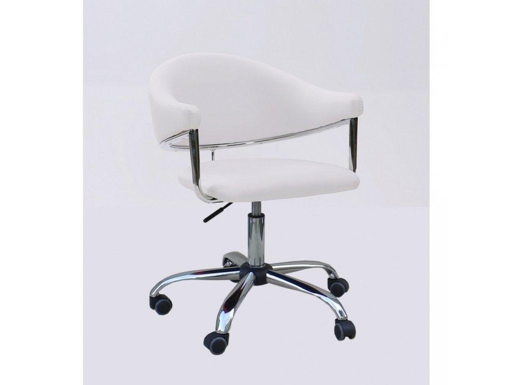 Kosmetická židle BERLIN na kolečkách - bílá