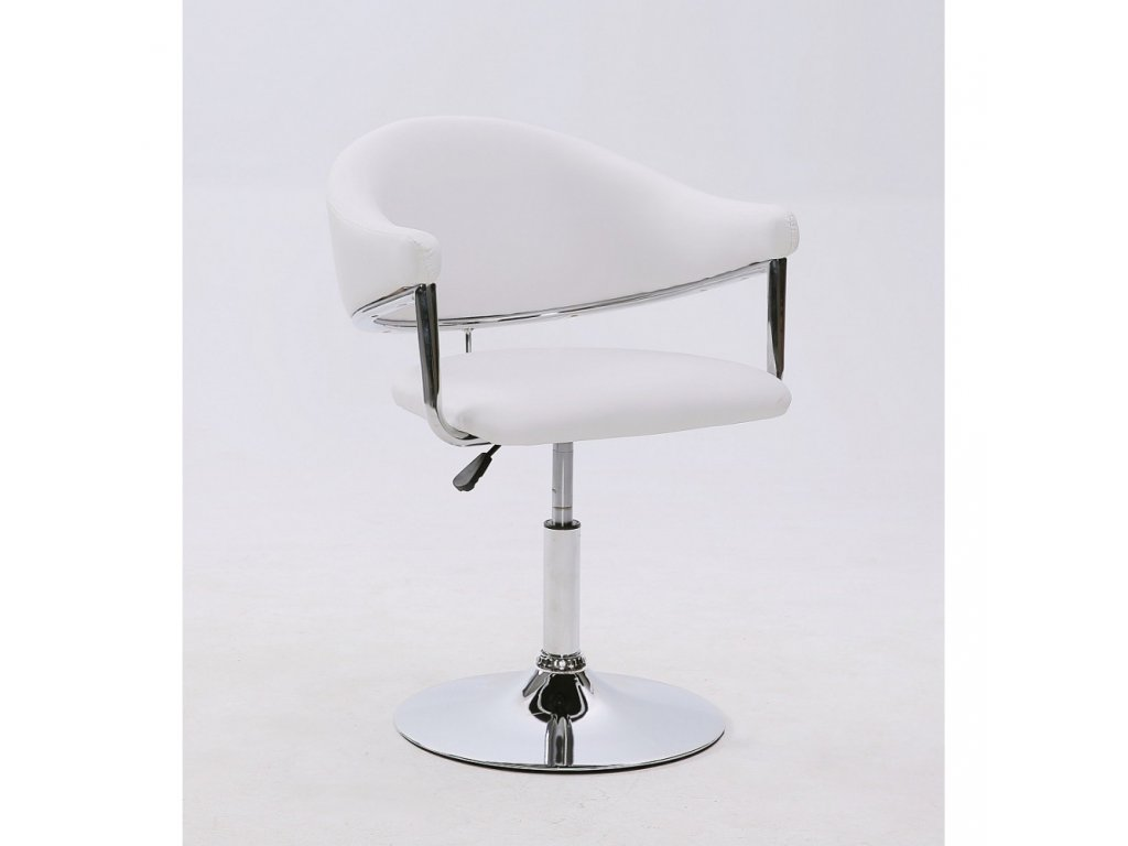 Kosmetická židle BERLIN na kulaté podstavě - bílá