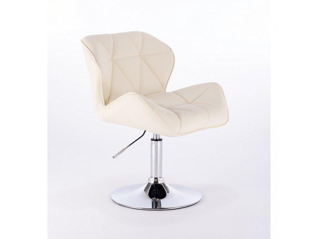 Kosmetická židle MILANO kulaté podstavě - krémová