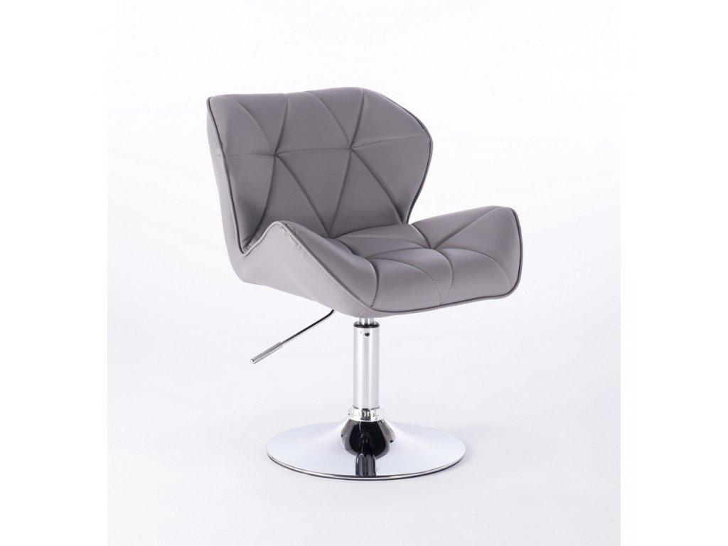 Kosmetická židle MILANO kulaté podstavě - šedá