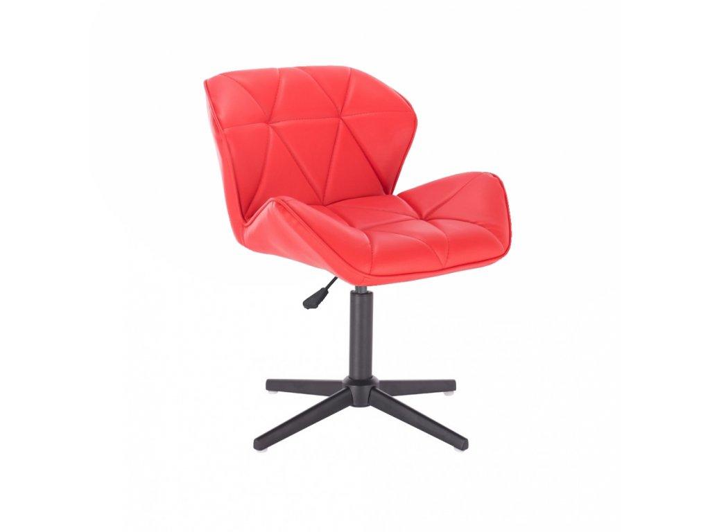 Kosmetická židle MILANO na černé čtyřramenné podstavě - červená